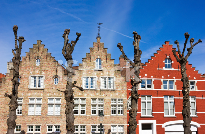 Traditional Old Belgium House Facades IN Bruges Stock