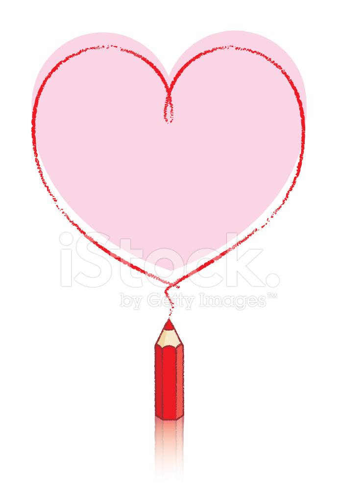 Forma DE Corazn DE Dibujo DE Lpiz Rojo Con Relleno DE Color DE