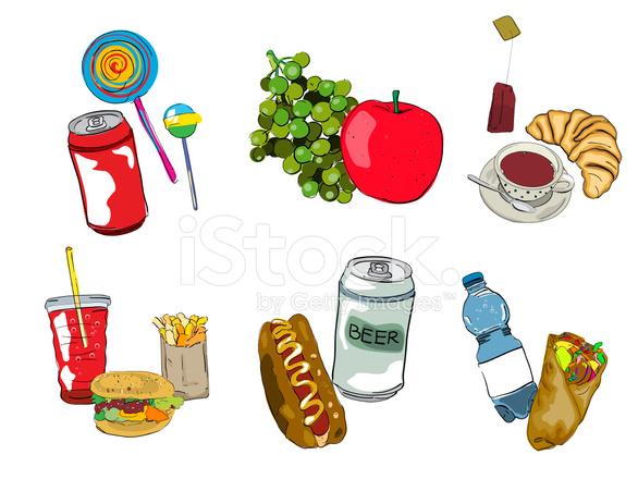 Jedzenie Ikony Zestaw Rysunkow Stock Vector Freeimages Com