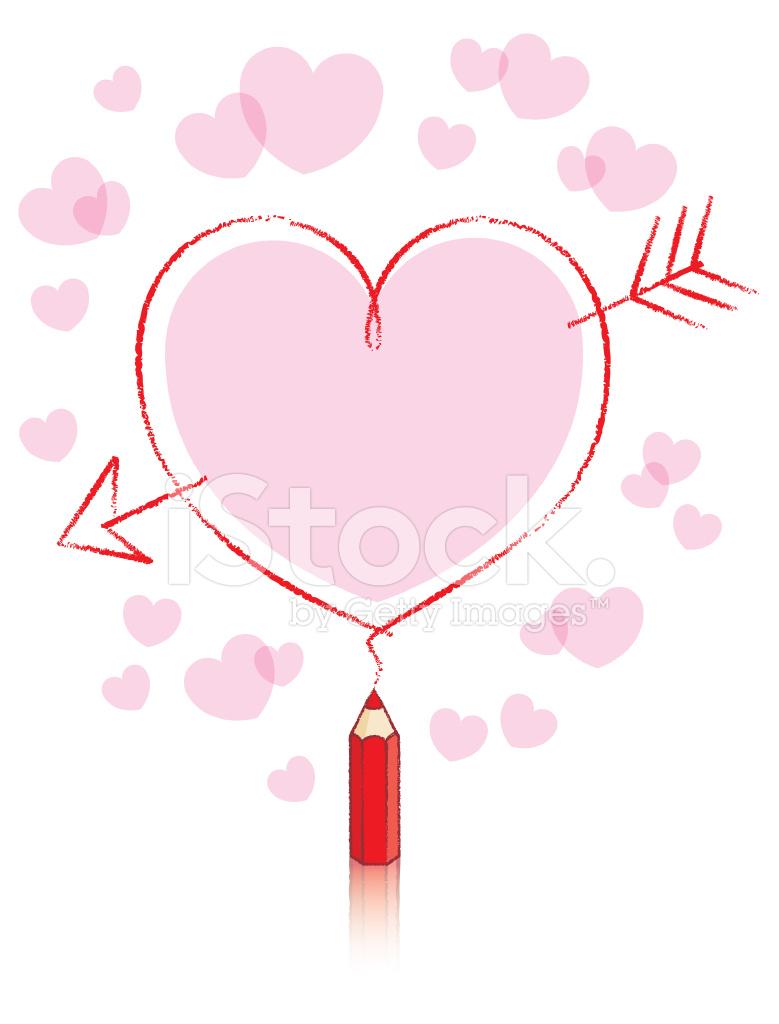 Coracao De Desenho De Lapis Vermelho Com Seta E Rosa Preenchimento