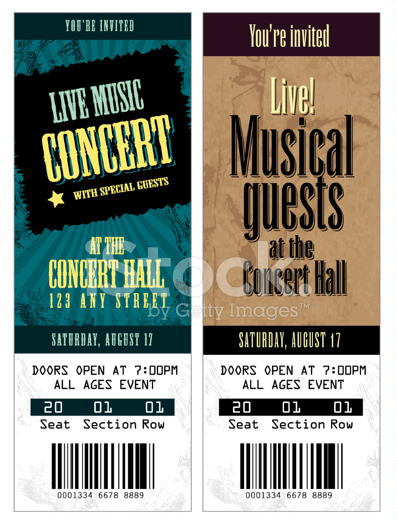 set of cool concert tickets template stock vector. Black Bedroom Furniture Sets. Home Design Ideas