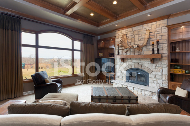 Casual Living Room With Brick Fireplace and Detailed ... on Fireplace Casual Living id=37882