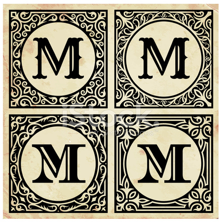 old paper with decorative letter m stock vector freeimages com