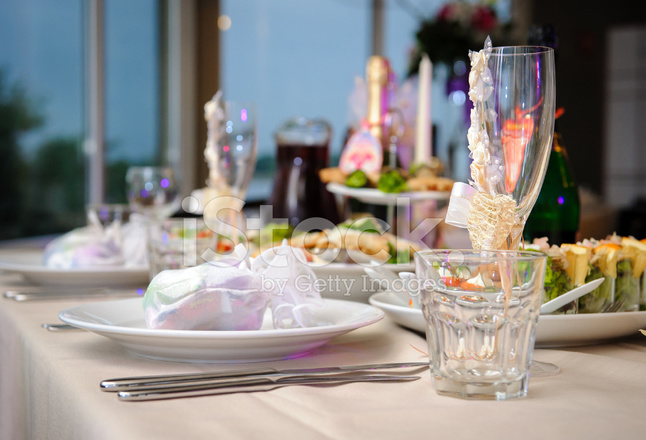 Luxury banquet table setting in restaurant close-up & Luxury Banquet Table Setting IN Restaurant Close UP Stock Photos ...