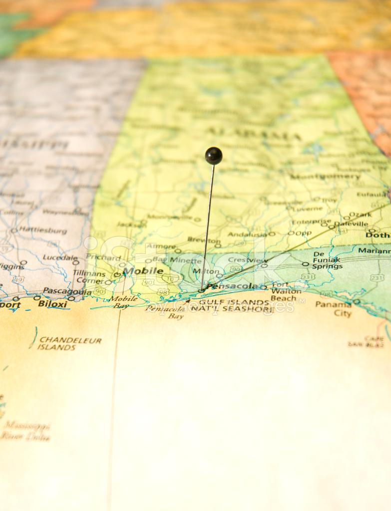 Straßenkarte Von Pensacola, Florida UND Golfküste Makro ...