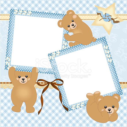 Baby Boy Photo Frame With Teddy Bear Stock Vector - FreeImages.com