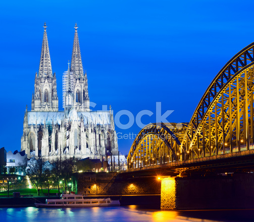 Cologne Cathedral At Dusk Evening Cityscape Wallpaper: Cologne Cathedral And The Hohenzollern Bridge AT Night IN