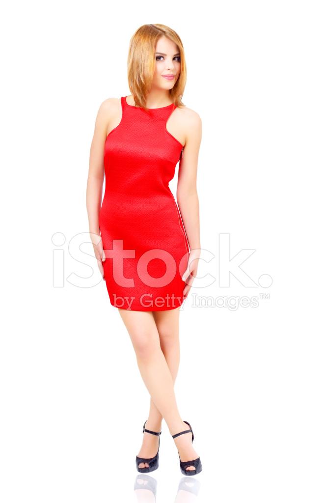 7c6dfe69aebfe Chica Elegante Vestido Rojo Aislado En Blanco Fotografías de stock ...