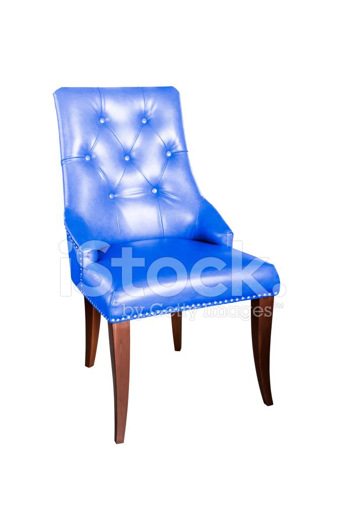 Blauw Leren Stoel.Blauw Leren Stoel Geisoleerd Op Wit Met Uitknippad Stockfoto S