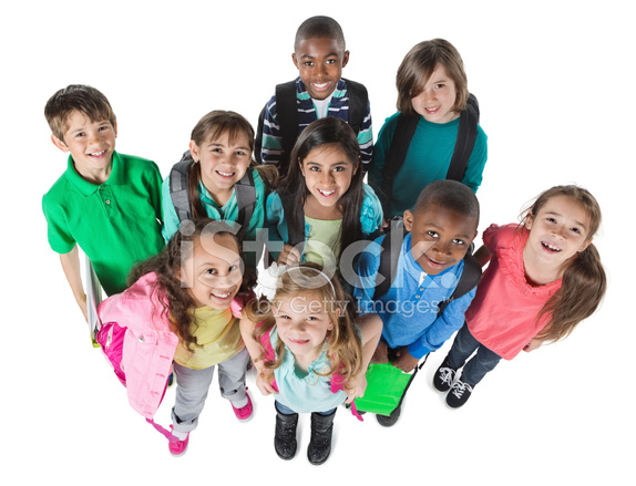 Diverse Group Of Elementary School Students View From