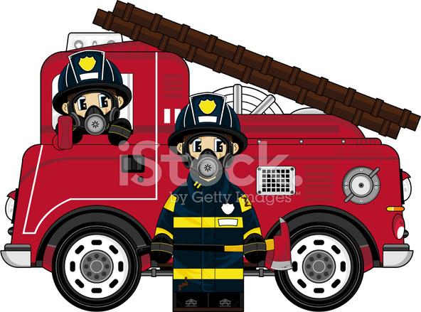Caserne pompiers. Vieux, brûler, trucks., garage, station., brique,  bâtiment.