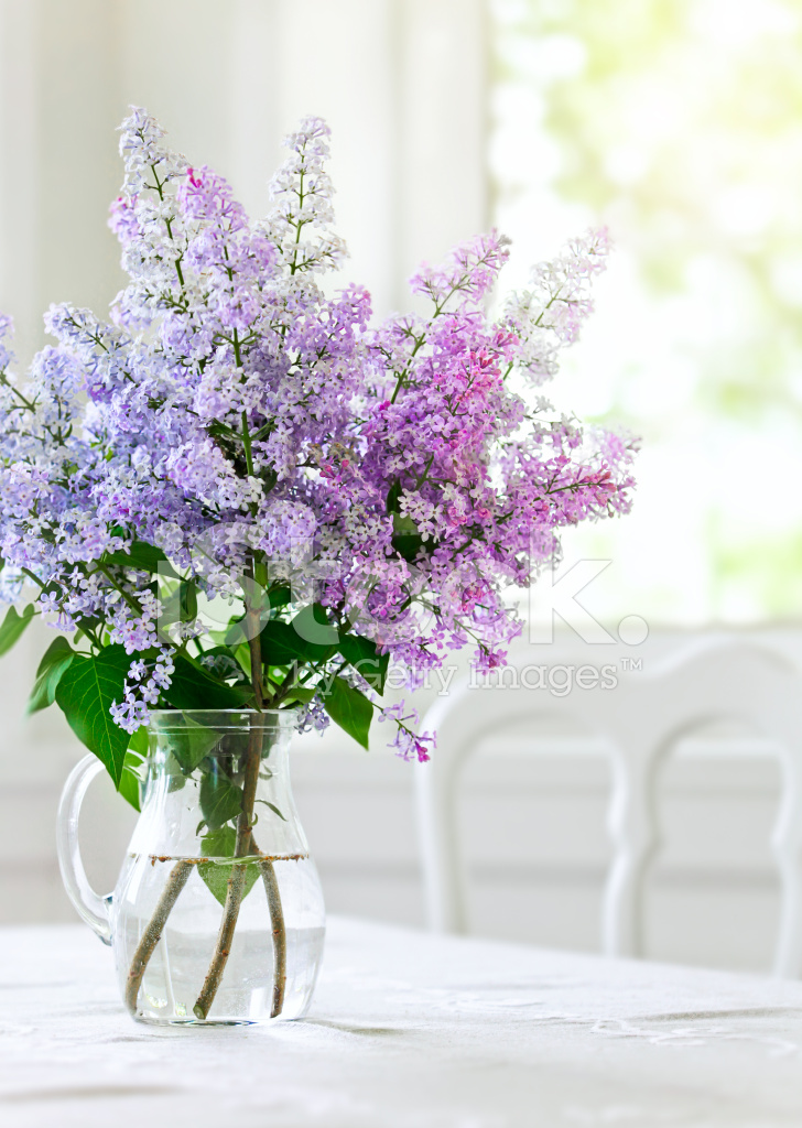Bunch Lilac Flowers In Vase On Table Stock Photos Freeimages