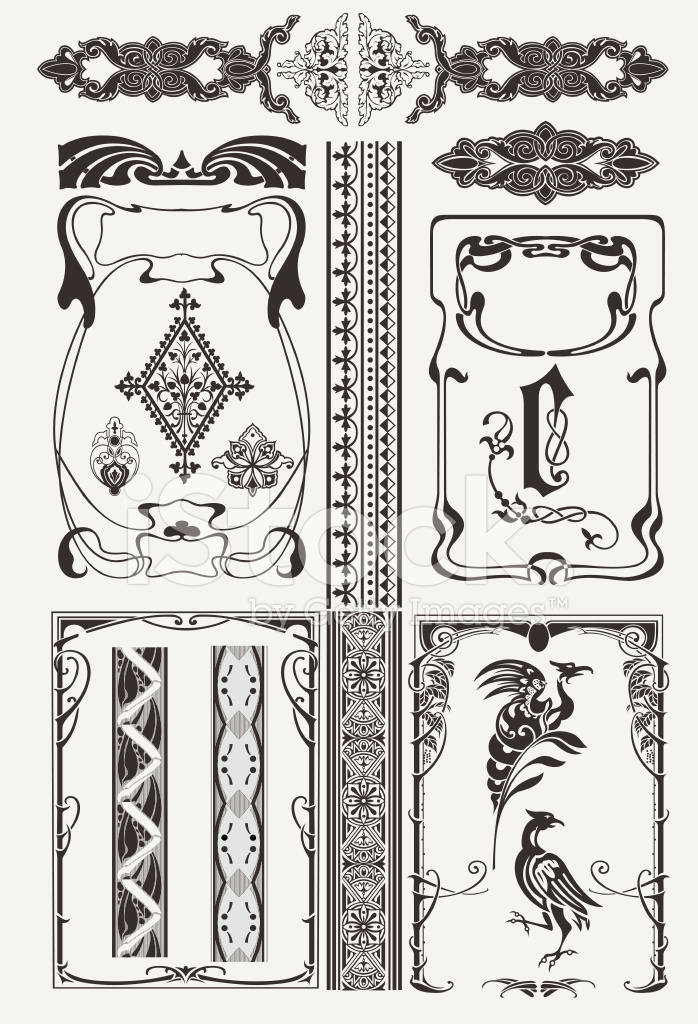 Set Of Ornate Frames In Art Deco Style Stock Vector Freeimagescom