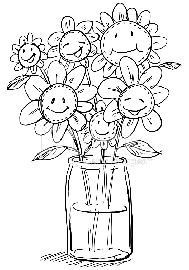 Cartoon Flowers In Vase Stock Vector Freeimages