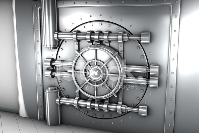 Illustration DE LA Porte DE Chambre Forte DE Banque, Vue DE Face ...