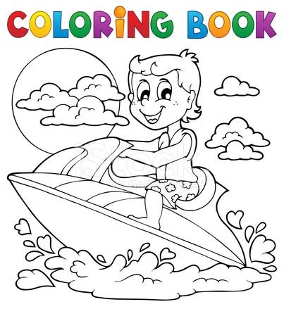 Tema 2 Di Sport Della Acqua Del Libro Da Colorare Stock Vector