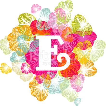 Alphabet E Letter Capital Floral Uppercase Stock Photos