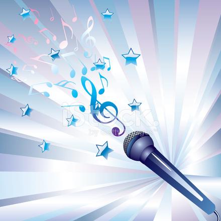 Microfono e note musicali