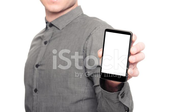 Telefono Vuoto Di Uomo Daffari Su Sfondo Bianco Fotografie Stock