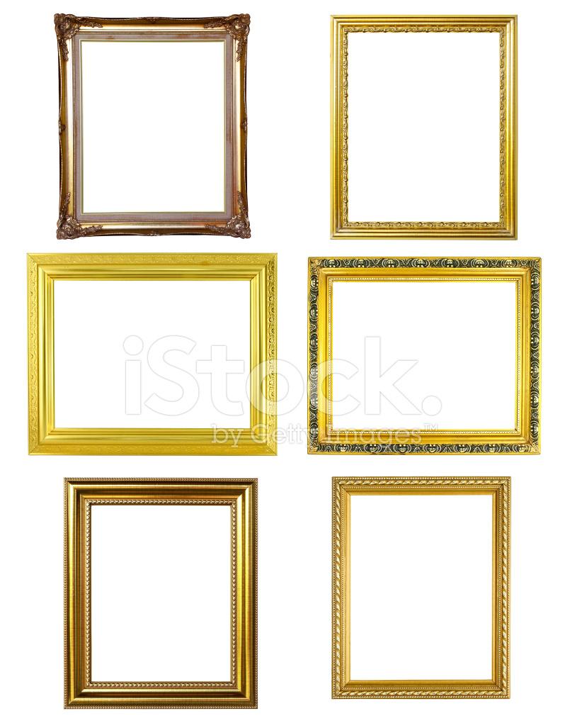 6 Goldenen Rahmen Bild Auf Weißem Hintergrund Stockfotos ...
