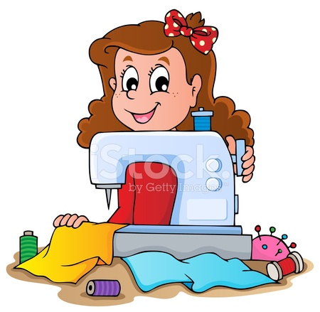 Cartoon Girl With Sewing Machine Stock Vector - FreeImages.com