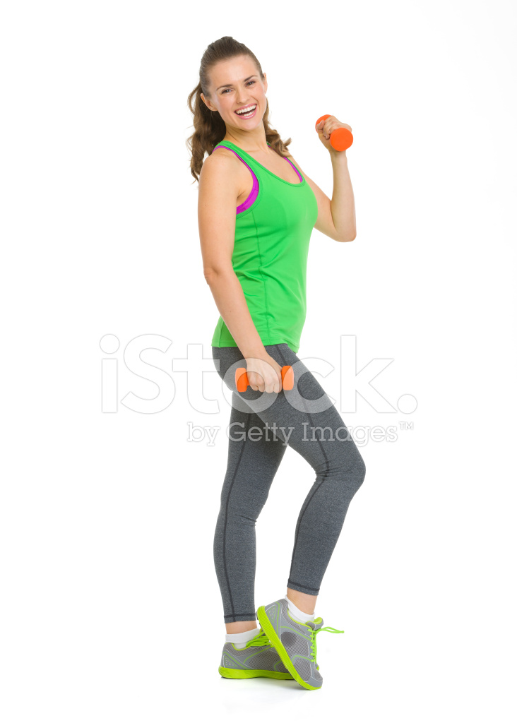 Full Length Portrait Of Happy Fitness Young Woman With