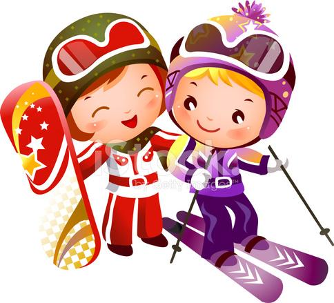 Ch opak i dziewczyna jazda na nartach stock vector - Bonhomme fille ...