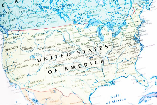 Karte Der Vereinigten Staaten Von Amerika USA Stockfotos ...