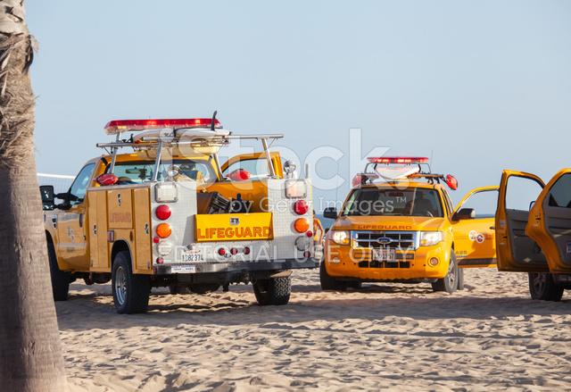 Lifeguard Cars In Santa Monica Beach Stock Photos