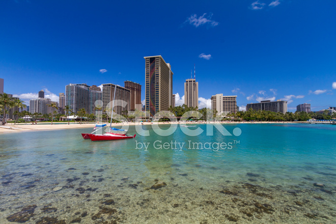 Waikiki Beach Hotels Honolulu Hawaii Stock Photos