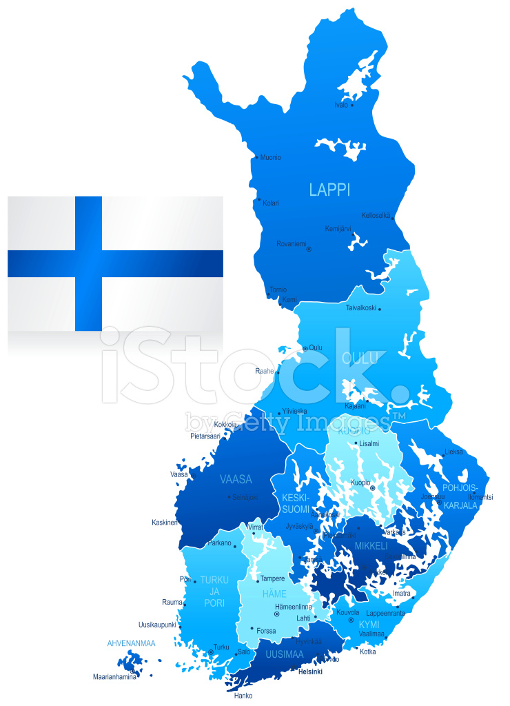 Map Of Finland States Cities And Flag Stock Vector
