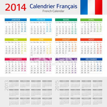 Calendario Frances.Frances Calendario Calendar 2014 Frances Stock Vector