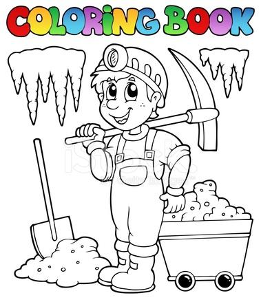 Libro De Colorear Con Minero Stock Vector Freeimagescom
