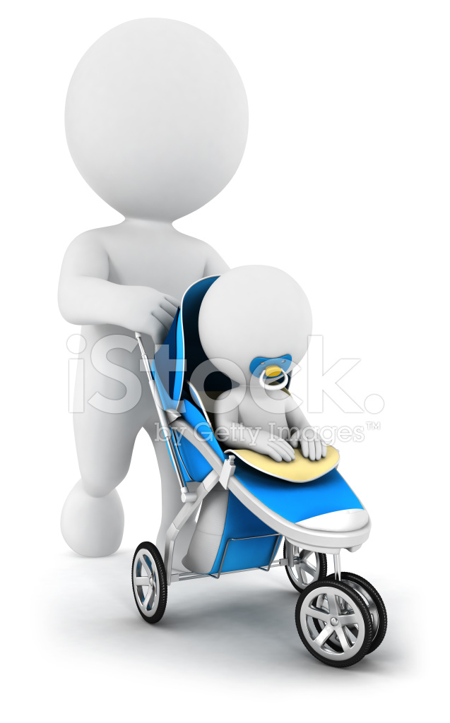 3d White People Baby IN A Stroller Stock Photos