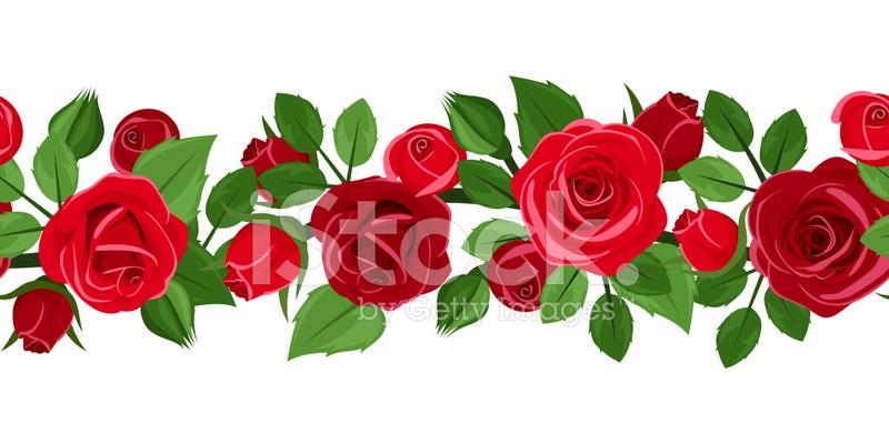 Flores Vectoriales Con Fondo Transparente: Vector Fondo Transparente Horizontal Con Rosas Blancas Y Rosas
