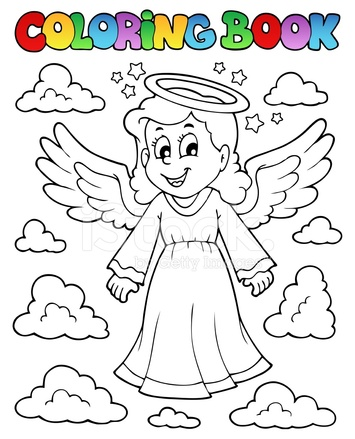 Imagen DE Libro Para Colorear Con Ángel 1 Stock Vector - FreeImages.com