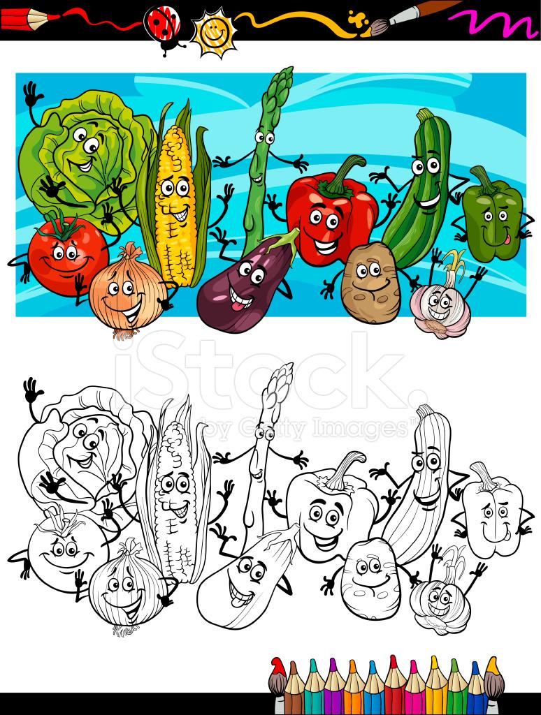 Komik Sebze çizgi Film Boyama Kitabı Için Stock Vector Freeimagescom