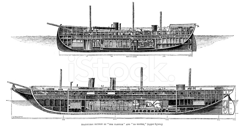 Hms Warrior and LA Gloire Stock Vector - FreeImages.com