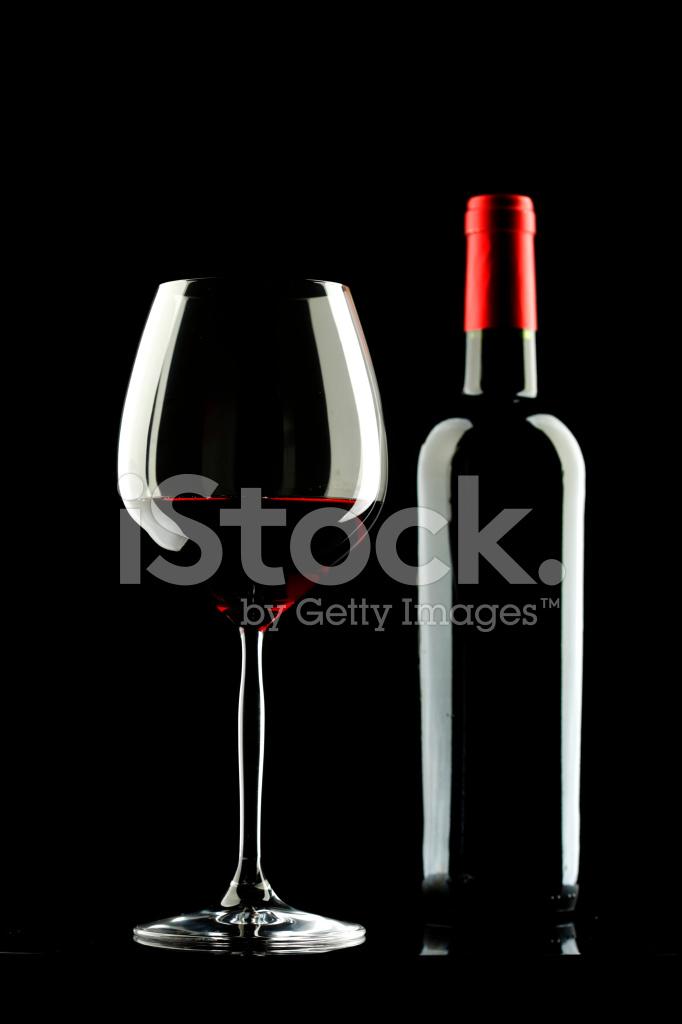 Bicchiere Di Vino Rosso Sagoma Sfondo Nero Fotografie Stock
