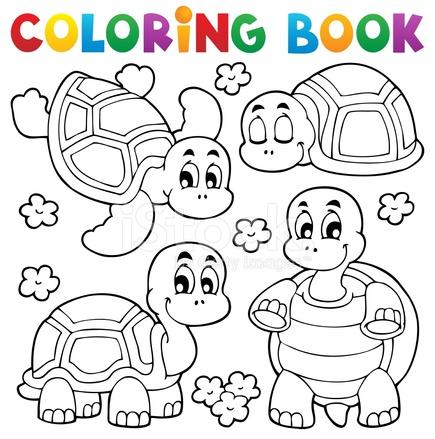 Boyama Kitabı Kaplumbağa Tema 1 Stock Vector Freeimagescom