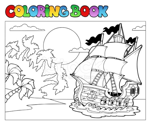 Libro DE Colorear Con Escena DE Pirata 2 Stock Vector - FreeImages.com