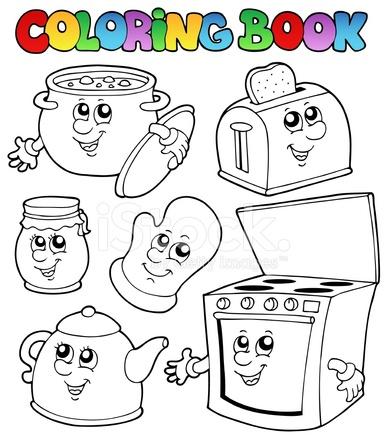 Libro Da Colorare Con Cartoni Animati Cucina Stock Vector ...
