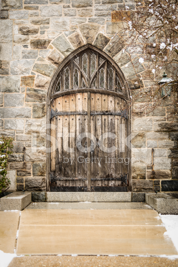 Old Wooden Double Doors to a Stone Church - Old Wooden Double Doors TO A Stone Church Stock Photos - FreeImages.com