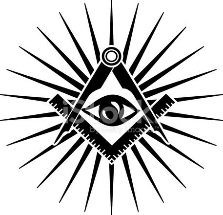 Freemasons Symbol Square And Compass Eye Of Providence Stock
