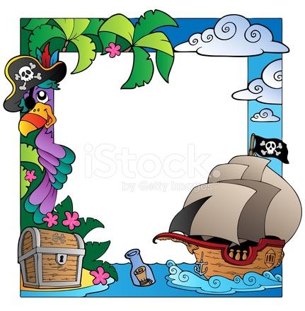 Frame Met Zee En Piraat Thema 4 Stock Vector - FreeImages.com