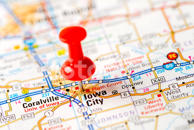 US Capital Cities on Map Series Iowa City IA stock photos