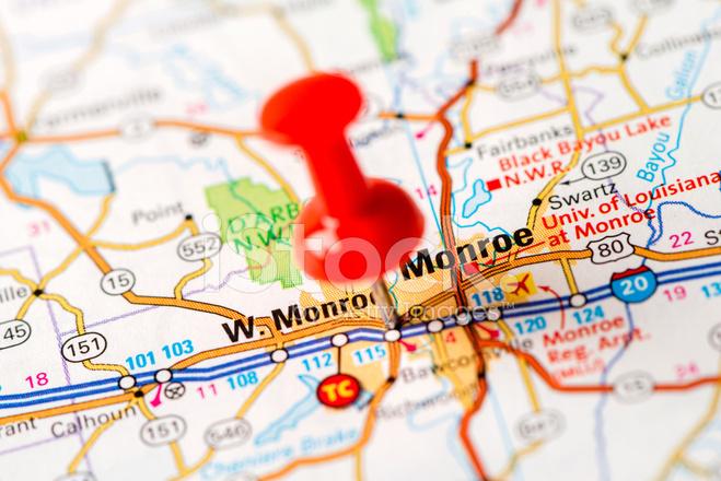 US Capital Cities on Map Series Monroe LA stock photos