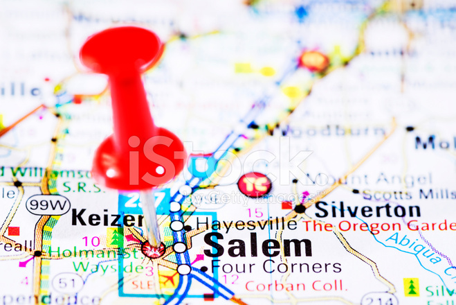 US Capital Cities on Map Series: Salem, Oregon, OR Stock ...