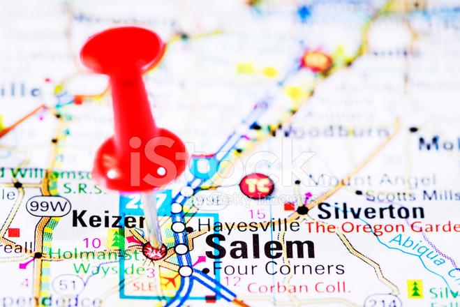 Capital Of Oregon Map.Us Capital Cities On Map Series Salem Oregon Or Stock Photos