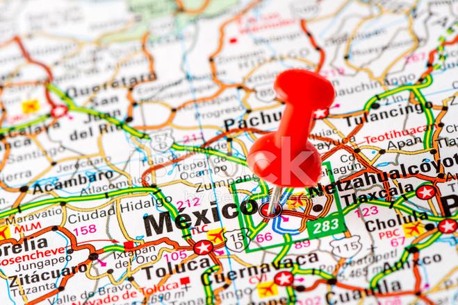 US Capital Cities on Map Series: México, Mexico Stock Photos ...